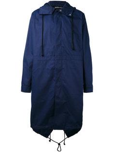 пальто с капюшоном и принтом на спине Raf Simons