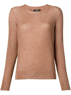 свитер в рубчик с эффектом металлик A.P.C.