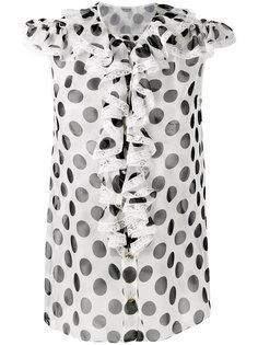 блузка с оборками и узором в горох Dolce & Gabbana