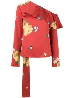 топ на одно плечо с цветочным рисунком Magda Butrym