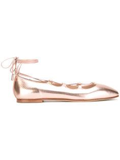 балетки со шнуровкой и эффектом металлик Anna Baiguera