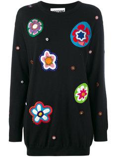 трикотажное платье с цветочными нашивками Moschino