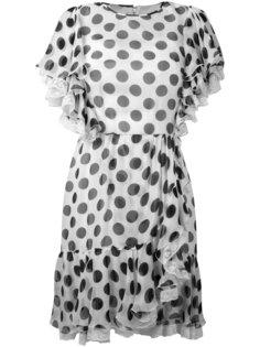 присборенное платье в горошек Dolce & Gabbana