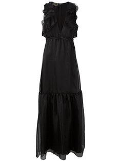 вечернее платье с глубоким вырезом и оборками Giambattista Valli