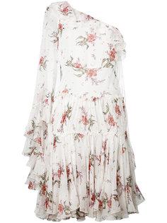 платье на одно плечо с цветочным принтом  Giambattista Valli
