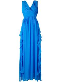 длинное платье с глубоким V-образным вырезом MSGM