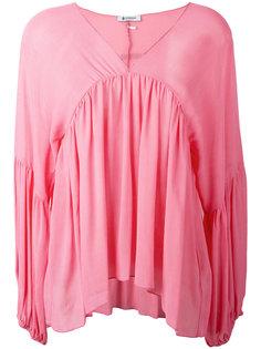 блузка с драпировками и V-образным вырезом Dondup
