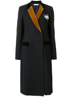 строгое пальто с контрастными лацканами  Christopher Kane