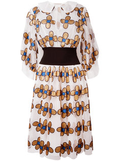 платье-рубашка с цветами из блесток Christopher Kane