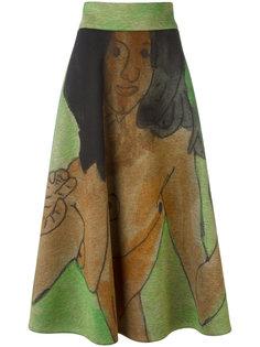 юбка миди с рисунком Christopher Kane