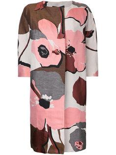 пальто с цветочным принтом без воротника Paule Ka