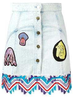 джинсовая юбка с кружевными заплатками Peter Pilotto