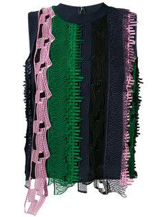 топ с вышивкой в полоску Versace