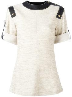 футболка с кожаными панелями Loewe