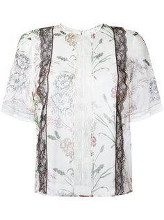 рубашка с цветочным узором и кружевной отделкой Giambattista Valli