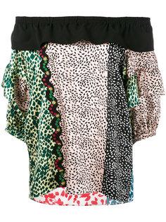 блузка с открытыми плечами и комбинированным принтом Sonia Rykiel