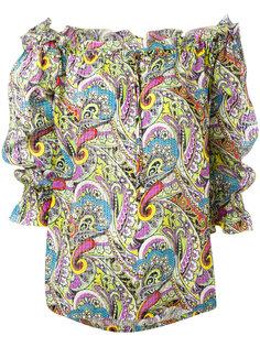 блузка с открытыми плечами и принтом пейсли  Etro