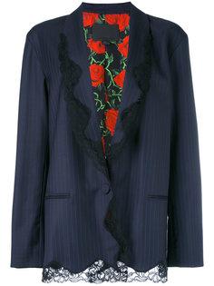 пиджак в тонкую полоску с кружевной отделкой Alexander Wang