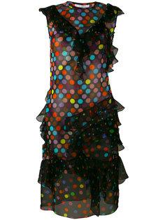 платье в горошек с оборками  Givenchy