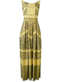 длинное платье шифт с орнаментом Talbot Runhof
