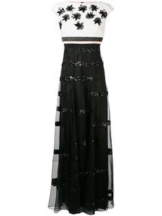 вечернее платье с цветочными элементами Talbot Runhof