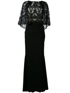 платье макси с вышивкой  Talbot Runhof