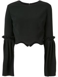 укороченная блузка с расклешенными рукавами Christian Siriano