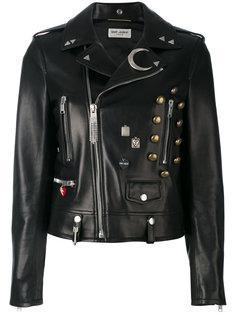 декорированная кожаная куртка  Saint Laurent