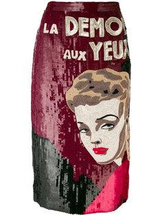 юбка из пайеток с рисунком Olympia Le-Tan