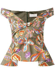 блузка с открытыми плечами и цветочным принтом Peter Pilotto