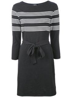 платье с полосками и поясом A.P.C.