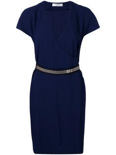 платье с запахом и декоративной цепочкой Lanvin