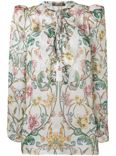 блузка с цветочным рисунком и завязками Roberto Cavalli