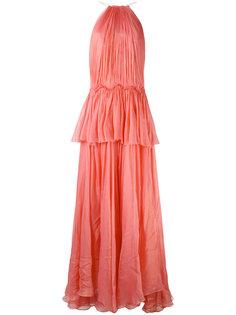 длинное платье с оборками Maria Lucia Hohan