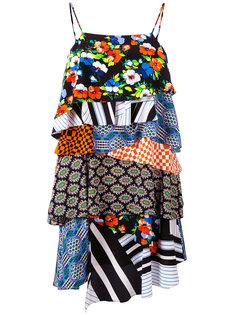 платье с оборкой и эффектом пэчворк  MSGM