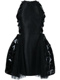 платье с расклешенной юбкой и кожаными вставками Isabel Sanchis
