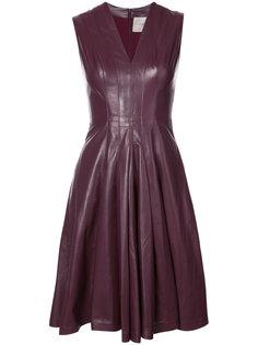 платье со сборками и V-образным вырезом Carolina Herrera