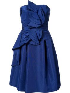 расклешенное платье с оборками без рукавов Carolina Herrera