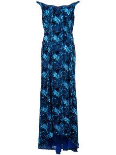 вечернее платье с открытыми плечами и узором Carolina Herrera