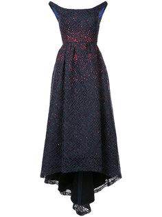 расклешенное вечернее платье с открытыми плечами Carolina Herrera