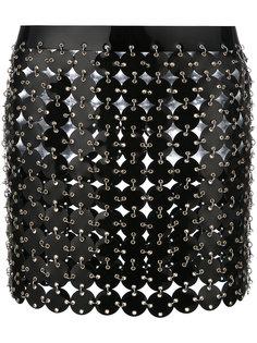 короткая юбка с геометрической отделкой Paco Rabanne