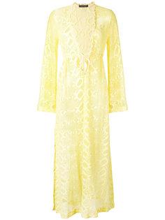 полупрозрачное платье с расклешенными рукавами Roberto Cavalli