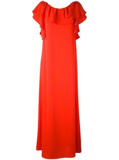 длинное платье с рюшами на рукавах P.A.R.O.S.H.