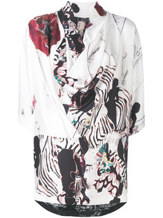 асимметричная блузка с комбинированным принтом Antonio Marras