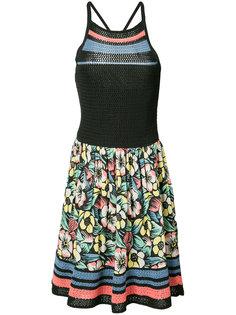 платье с цветочным принтом и вязаными вставками Red Valentino