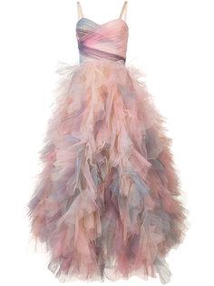платье шифт с оборками Marchesa