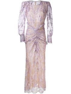 длинное кружевное платье с длинными рукавами Alessandra Rich