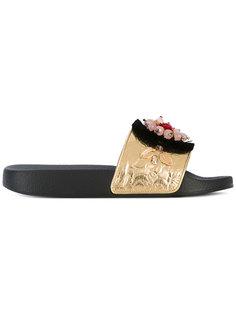 декорированные шлепанцы Dolce & Gabbana