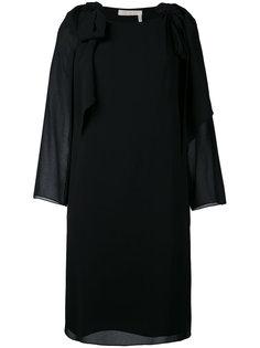 платье с цветочным принтом с бантами на плечах Chloé