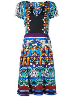 расклешенное платье с узором Alberta Ferretti